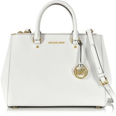 Michael Kors Handbags Sutton Saffiano Leather Large Satchel ($290) ❤ liked on Polyvore featuring bags, handbags, bolsas, purses, optic white, michael kors handbags, white purse, white satchel handbags, hand bags and handbags purses