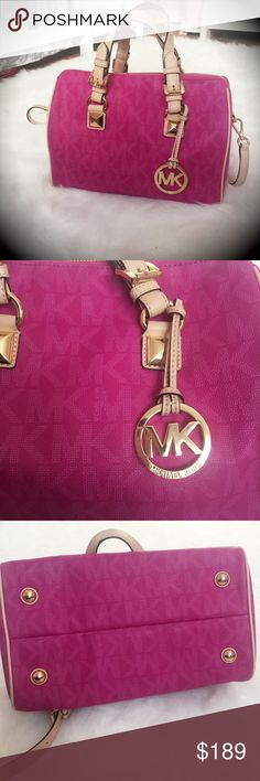 Authentic NEARLY MINT Michael Kors Grayson Satchel This Michael Kors Grayson Satchel in Fuschia is 100% Authentic & in near mint condition. I used it once for a date w/my fiancé. We have a baby on the way & need the money, it's the ONLY reason I'm selling. It's gorgeous. I don't see any visible signs of wear. There are a few temporary creases in the handles from being in my closet. The inside has zero stains, just a little hair from my brush. Has removable shoulder strap, gold hardware…