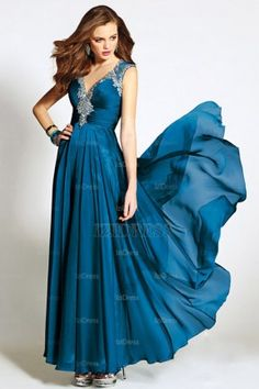 A-Line/Princess V-neck Chiffon Floor-length Evening Dresses - IZIDRESSES.COM at IZIDRESSES.com