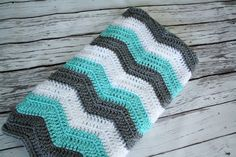Baby Blanket, Crochet Chevron Baby Blanket, Grey Blue and Teal Chevron Blanket, Customize your Color Blanket by JoJo's Bootique by JojosBootique on Etsy https://www.etsy.com/uk/listing/238817347/baby-blanket-crochet-chevron-baby