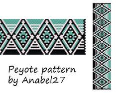 Turquoise, black and white  peyote pattern  - bracelet pattern  - bead pattern #24