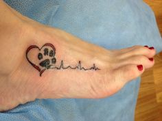 EKG paw print heart tattoo