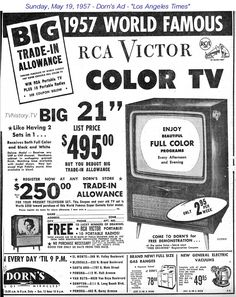 Hey 957 the year I was born Vintage Newspaper, Vintage Tv, Vintage Tools, Vintage Posters, Life In The 1950s, Color Television, Vintage Appliances, Old Advertisements, 60th Birthday Party