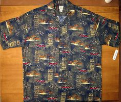 Hawaiian shirt by Morro Bay | features tikis, palms, volcanoes and canoes
