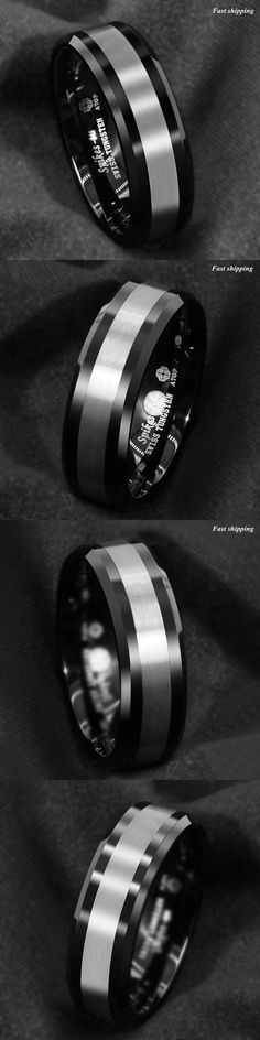 Engraved 6//8mm Black Tungsten Thin Pink Line Wedding Band Ring Breast Cancer TW