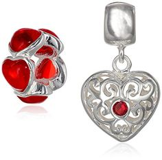 Sterling Silver Red Filigree Crystal Set Bead Charm