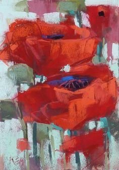 Red Poppies Floral Original Pastel por KarenMargulisFineArt en Etsy