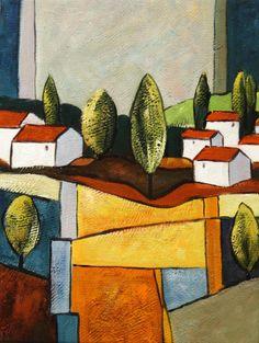 Cuadros abstractos, cuadros modernos con paisajes abstractos, I-Aldea