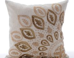 Ecru Throw Pillow Covers  Square  Peacock by TheHomeCentric