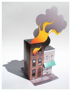 House Fire Paper model by GrandCircus on Etsy, $12.00