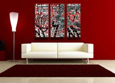 Red, black, white and grey urban graffiti canvas art print. Modern art for the modern home.  http://www.didgiwidgi.co.uk/htm/canvas_art_gallery/graffiti_canvas_art/graffiti_art_canvas_4.htm