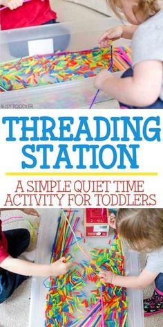 Threading Station: Quiet Time Activity - Busy Toddler - Check out this THREADING STATION! An awesome quiet time toddler activity that's perfect for indoor days. An easy indoor activity for toddlers that also doubles as sensory and fine motor skills play! Quiet Time Activities, Indoor Activities For Toddlers, Motor Skills Activities, Infant Activities, Toddler Fine Motor Activities, 2 Year Old Activities, Sensory Activities For Preschoolers, Cutting Activities, Art Activities For Toddlers
