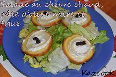 une salade simplissime et délicieuse :  http://kazcook.com/blog/archives/503-Salade-au-chevre-chaud,-pate-dolive-noire-et-figue.html