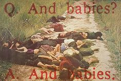 Bodies of children strewn in road.
