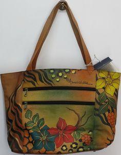 Anuschka Large Floral Print Tote Bag Safari Handbag Brown NEW