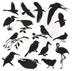 Birds Silhouette Digital Bird Clip Art Clipart por MayPLDigitalArt