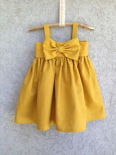 RESERVED+Mustard+Yellow+Big+Bow+Dress+by+dreamcatcherbaby+on+Etsy,+$65.00