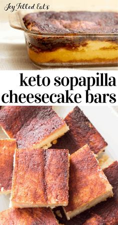 Sopapilla Cheesecake Bars - Low Carb Keto Sugar-Free THM S - My Sopapilla Cheesecake Bars have layers of a soft slightly sweet dough surrounding cheesecake and - Low Carb Sweets, Low Carb Desserts, Gluten Free Desserts, Low Carb Recipes, Dessert Recipes, Gluten Free Bars, Dinner Recipes, Healthy Recipes, Sopapilla Cheesecake Bars