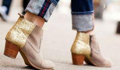 Gold glitter boots diy