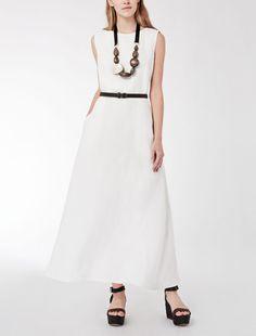 f0aca683e3 Max Mara AMICO white  Long dress in délavé linen. Elegant Dresses For Women