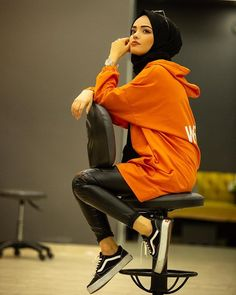Image may contain: 1 person, sitting and shoes – Hijab Fashion 2020 Modern Hijab Fashion, Muslim Fashion, Cute Fashion, Modest Fashion, Fashion Outfits, Fashion Fashion, Fashion Shoes, Casual Hijab Outfit, Hijab Dress