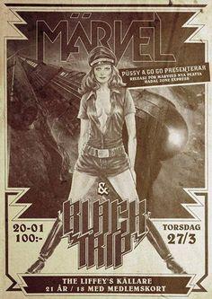Püssy a Go Go presenterar MÄRVEL (Releasefest) + BLACK TRIP #TheLiffey #posters #poster #concert #music #event #rock