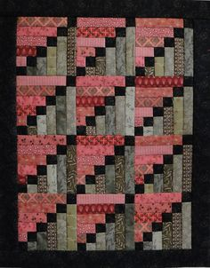 """Heartspun Quilts ~ Pam Buda """"Stepping Stones, designed by Phyllis Paul of Cozy Quarters. This quilt measures 11 x 14 inches, finished blocks. Patchwork Quilt, Jellyroll Quilts, Scrappy Quilts, Easy Quilts, Mini Quilts, Seminole Patchwork, Log Cabin Quilt Pattern, Log Cabin Quilts, Quilt Block Patterns"""