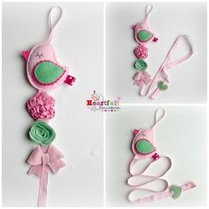 Hair Clip Tidy - Little Bird - pink and green Hair Bow Holder - let's see if we can make one with an owl on the place of the bird