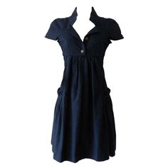 Chanel Navy cotton Short Sleeve Dress   From a collection of rare vintage day dresses at http://www.1stdibs.com/fashion/clothing/day-dresses/