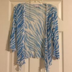 Emma G top Emma G top with blue and white zebra print gently worn. Emma G Tops Blouses