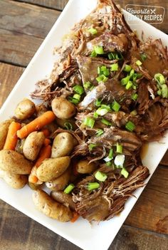 Instant Pot Roast with potatoes and carrots is the perfect Sunday dinner. This Instant Pot version is as tender as a traditional recipe but less than half the time! Pot Roast Recipes, Beef Recipes, Cooking Recipes, Healthy Recipes, Recipies, Bariatric Recipes, Skillet Recipes, Sausage Recipes, Copycat Recipes