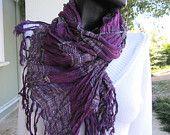 Purple scarf-stripe linen long--womens SCARVES,crinkle,Turkish Scarf
