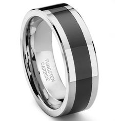 He says he wants something with black in it, but we'll see :) Tungsten Carbide Two Tone Beveled Wedding Band Ring