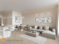Фото: Гостиная - Интерьер однокомнатной квартиры в современном стиле
