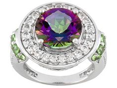 Mystic Topaz (Tm) 4.50ct With White Topaz .60ctw And Mint Tsavorite .50ctw Sterling Silver Ring