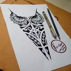 """ SÁBIO TATTOO "" Tatuagem profissional: desenho tatuagem tattoo coruja maori pena passaros"