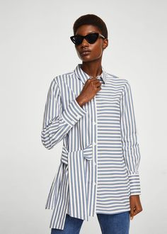 Asymmetrical design Cotton fabric Classic collar Long sleeves with buttoned cuffs Button front Decorative knot Shirt Blouses, Shirts, Knotted Shirt, Outfit Trends, Mode Hijab, Facon, Looks Cool, Shirt Dress, Clothes For Women