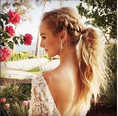 Plaited ponytail wedding hair. Instagram/@wedminau #weddinghair #ponytail #plait