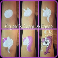 Simple face painting designs are not hard. Many people think that in order to have a great face painting creation, they have to use complex designs, rather then Face Painting Unicorn, Girl Face Painting, Unicorn Face, Face Paintings, Rainbow Unicorn, Horse Face Paint, Simple Face Painting, Unicorn Horse, Face Painting Tutorials