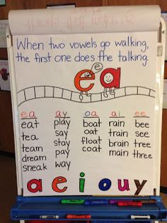 """I would add to the saying """"when two vowels go walking the first one does the talking and USUALLY says its name."""" this will give the students the decoding strategy that if the vowel name doesn't work try the short vowel sound... one or the other should handle most words. Also I would put these up on the blackboard while using them but not on the wall."""