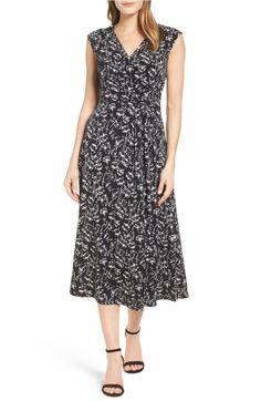 Main Image - Chaus Stencil Blooms Faux Wrap Midi Dress