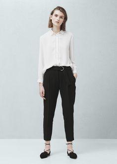 Belt baggy trousers - Pants for Women   MANGO USA