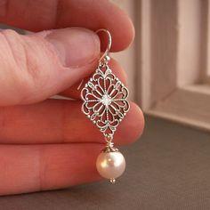 Bridesmaid jewelry, pearl earrings, Swarovski crystal pearls, antiqued silver filigree, sterling silver ear wires, bridesmaid gift. $18.00, via Etsy.