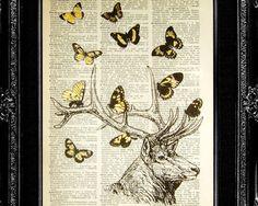 WALL HANGING, DEER Art Print, Deer decor, Deer wall art, Deer illustration, Deer nursery, Dictionary Print, Book Page Print- Spring is Here. $12.00, via Etsy.