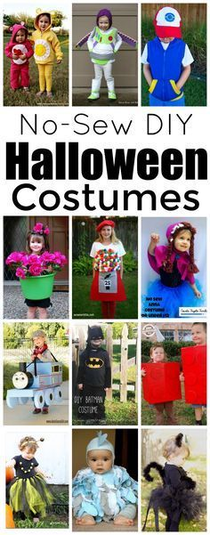 Cute and fun no-sew DIY Halloween kid costumes. Your favorite characters…