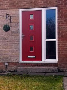 4 Square Glazed Composite Front Door in Red with Glazed Side Light