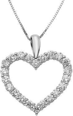 FINE JEWELRY 14K White Gold 1 Carat Diamond Igl Certified Heart Pendant with Chain