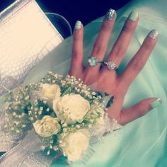 My nails for prom back in 2013! #promnails #mintgreen #corsage