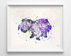 Eeyore Print Pooh Watercolor Art Disney Poster by InkistPrints