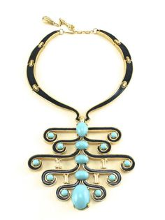 1970's Jomaz Turquoise Collar    1970's Jomaz signed large gold toned collar with blue enamel and turquoise cabochons.  At House of Lavande